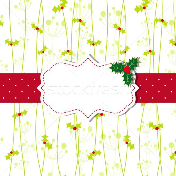 Noël carte de vœux cadre fleur fond Photo stock © meikis