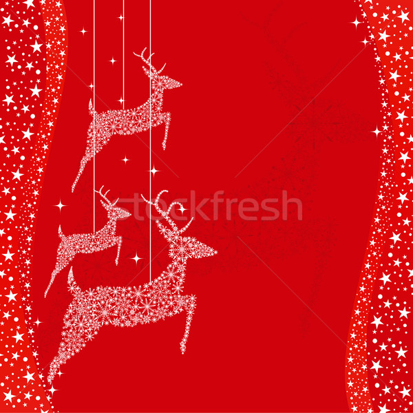 Rouge Noël cerfs carte de vœux heureux design Photo stock © meikis