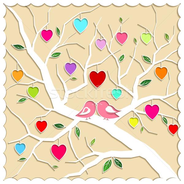Printemps amour arbre oiseaux illustration papier Photo stock © meikis