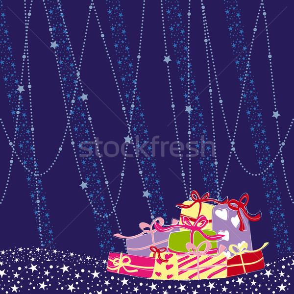 Stok fotoğraf: Noel · tebrik · kartı · renkli · sunmak · soyut · doğa