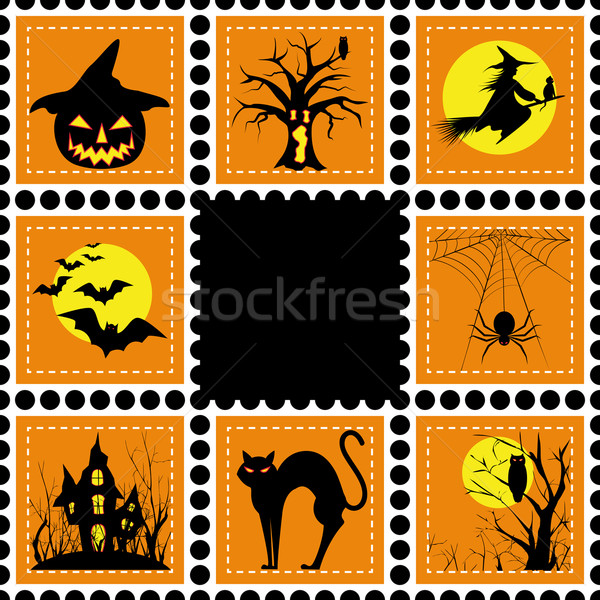 Halloween illustration set of stamp Stock photo © meikis