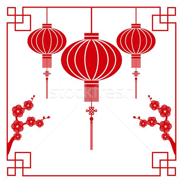 Stock fotó: Kínai · új · év · üdvözlőlap · kínai · papír · vág · téma