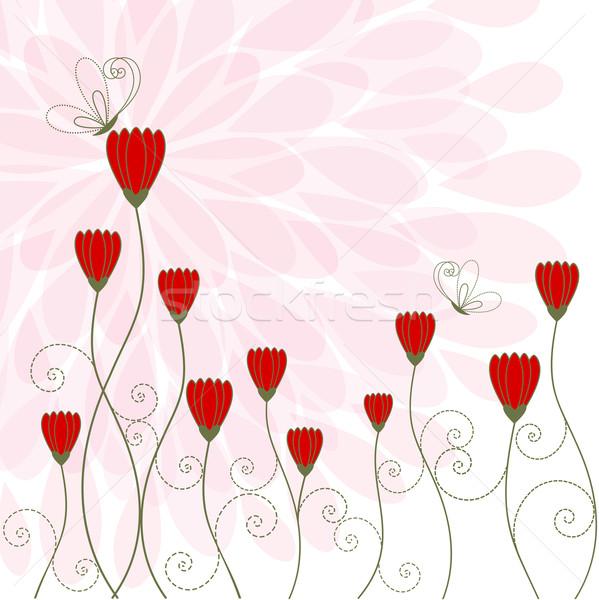 Printemps fleur papillon carte de vœux résumé vert Photo stock © meikis