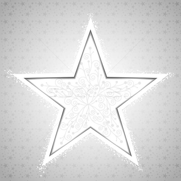 Résumé Noël star flocon de neige carte de vœux fleur Photo stock © meikis