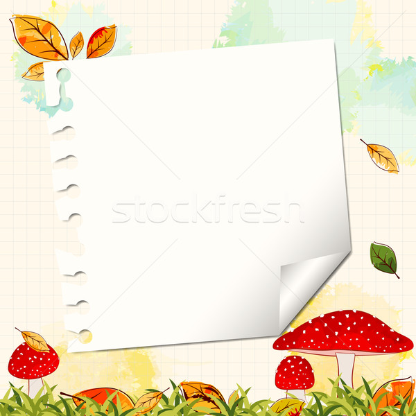 Colorful Autumn Background with Notepaper Stock photo © meikis