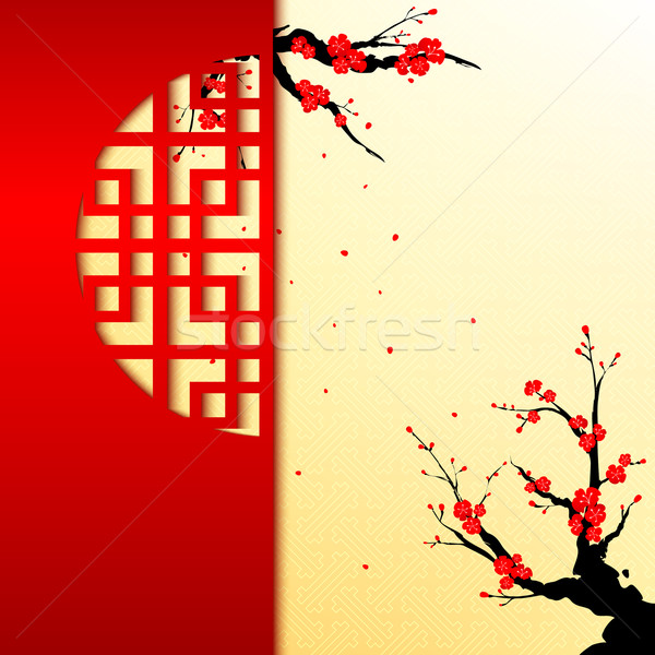 Kiraz çiçeği tebrik kartı kâğıt pencere çerçeve Stok fotoğraf © meikis