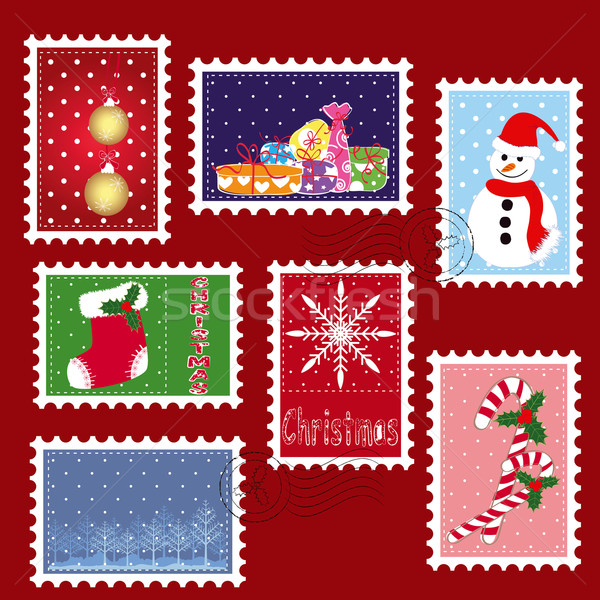 sets of winter Christmas stamp postage Stock photo © meikis