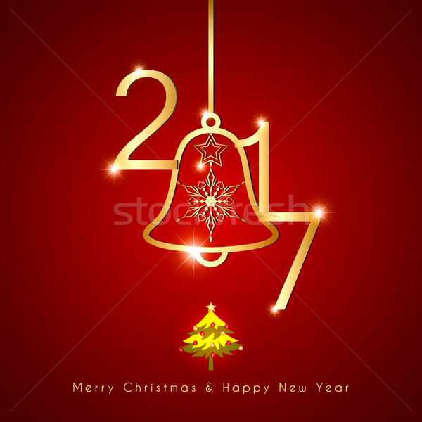 Sparkling Golden Christmas Bell on Red Background Stock photo © meikis