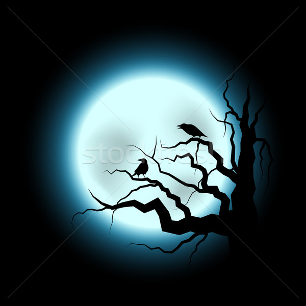 Halloween Illustration with Raven and Full Moon Stock photo © meikis