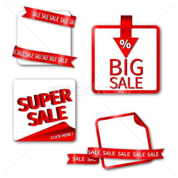 Vente vignette étiquette rouge publicité Photo stock © meikis