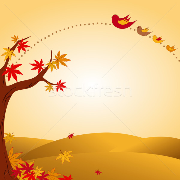 autumn landscape tree colorful leaf and bird Stock photo © meikis
