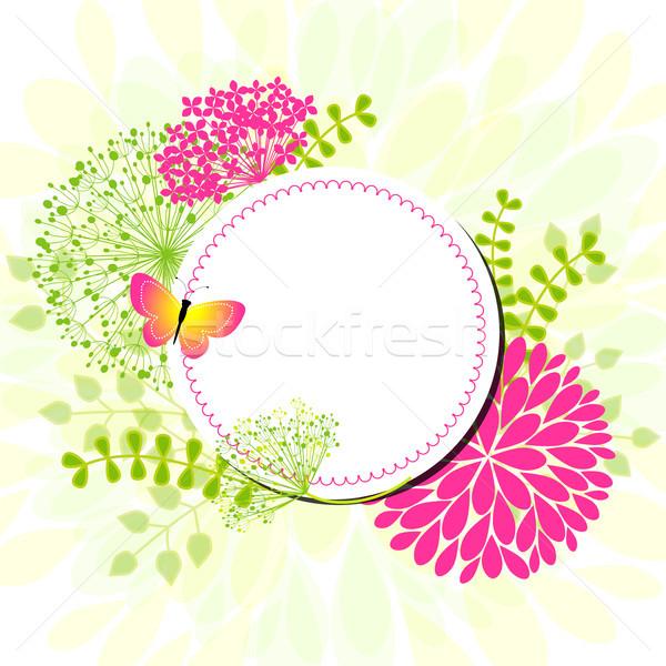 Coloré printemps fleurs carte de vœux papillon printemps Photo stock © meikis