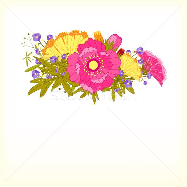 Bahar renkli çiçek tebrik kartı bahar dizayn Stok fotoğraf © meikis