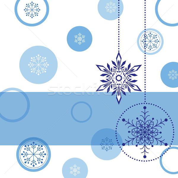 Noël carte de vœux flocon de neige balle star résumé Photo stock © meikis