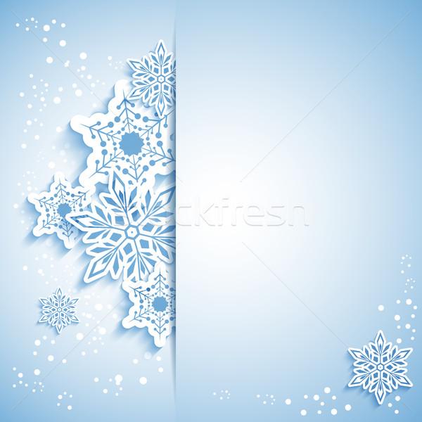 Natal floco de neve cartão branco azul flor Foto stock © meikis