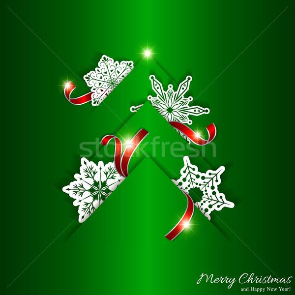 Vert arbre de noël blanche flocon de neige papier fond Photo stock © meikis