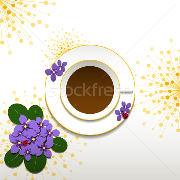 Springtime African Violet and Cup of Coffee Stock photo © meikis