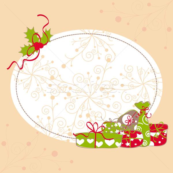 Imagine de stoc: Crăciun · felicitare · frunze · colorat · prezenta · abstract