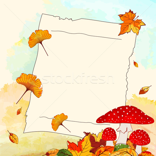 Colorful Autumn Background with Leaf and Notepaper Stock photo © meikis