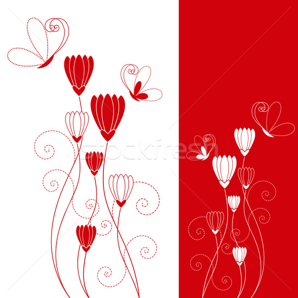 Abstract red flower with butterfly greeting card Stock photo © meikis