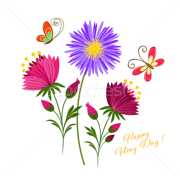 May Day Colorful Flower and Butterfly Stock photo © meikis