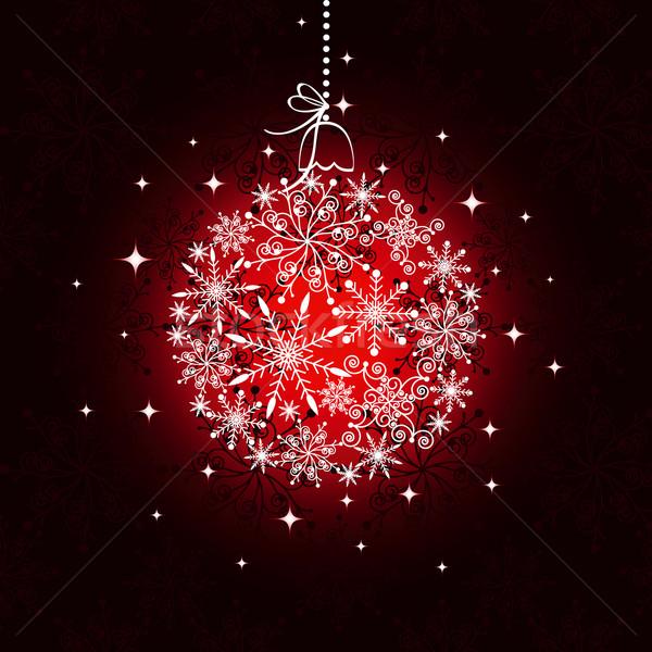 Foto stock: Vermelho · natal · ornamento · bola · feliz