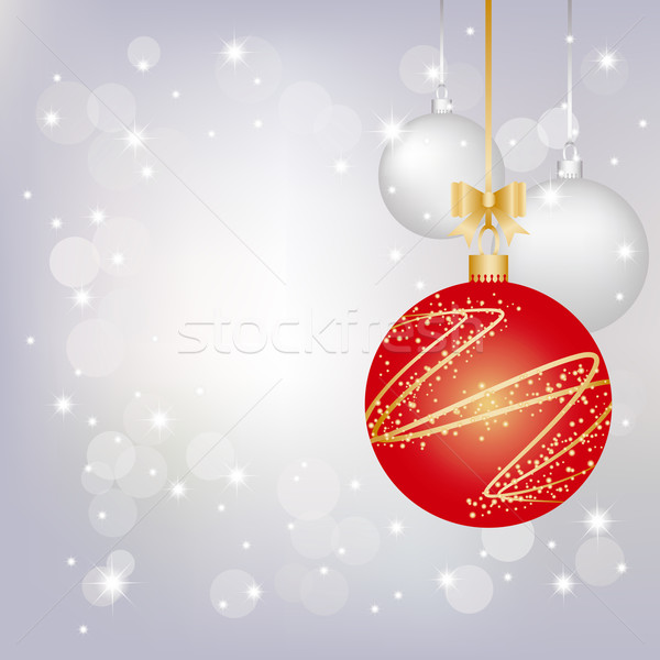 ストックフォト: クリスマス · グリーティングカード · 銀 · パーティ · 抽象的な