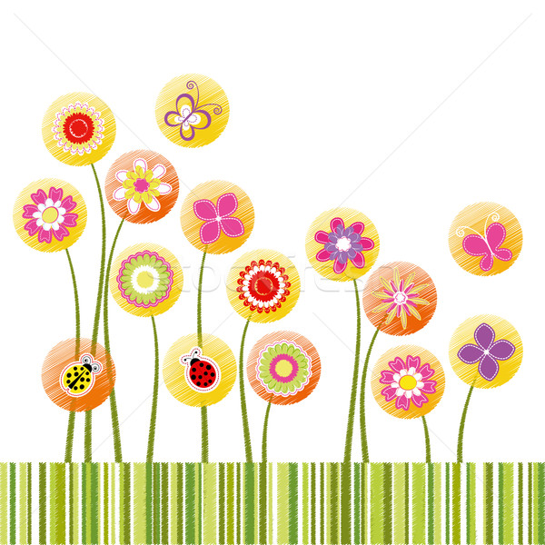 Abstract springtime colorful flower greeting card Stock photo © meikis