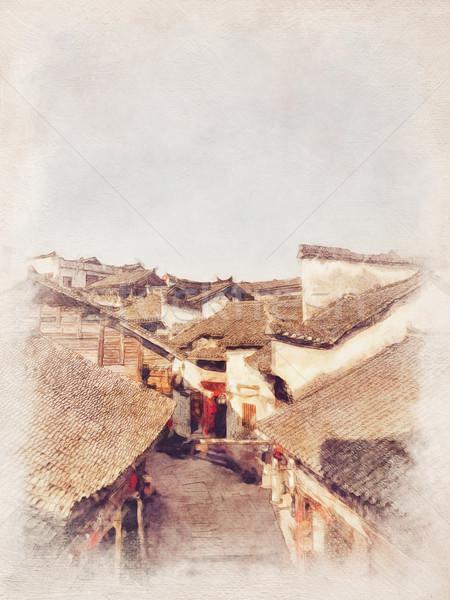 Aquarel landschap oude stad dag water Stockfoto © meikis