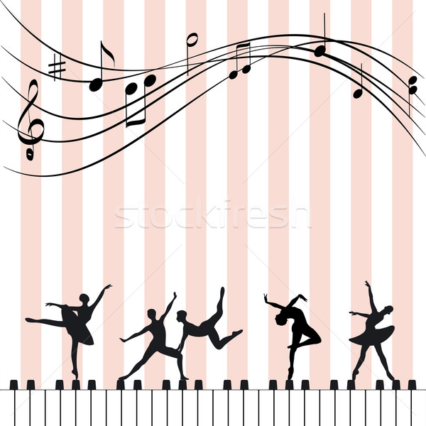 Stockfoto: Muziekfestival · abstract · behang · balletdanser · piano · muziek