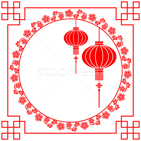 Photo stock: Carte · de · vœux · chinois · papier · motif
