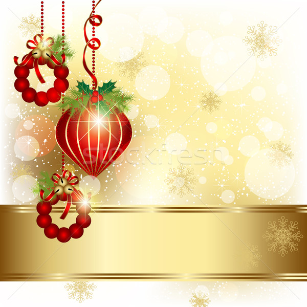 Stockfoto: Christmas · ornament · goud · kleur · abstract · bal