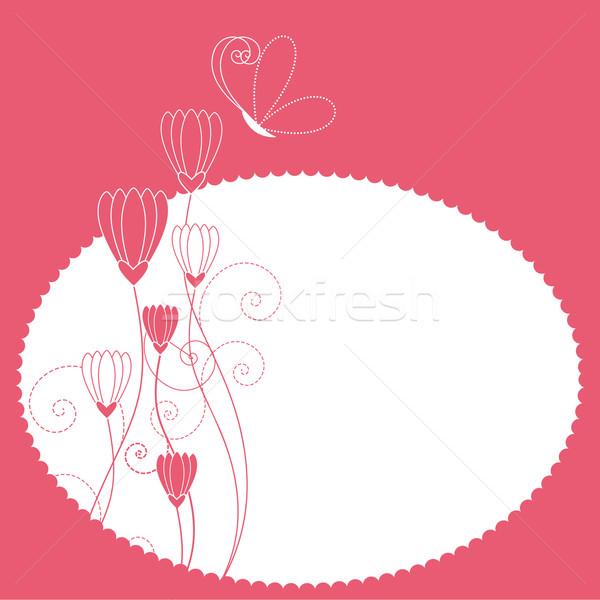 Photo stock: Printemps · fleurs · d'été · carte · de · vœux · été · fleur · papillon