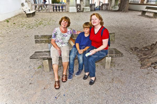 Három generációk vonzó család boldog szépség Stock fotó © meinzahn