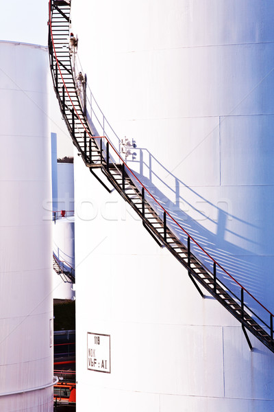 Witte tank boerderij blauwe hemel Blauw heldere hemel Stockfoto © meinzahn
