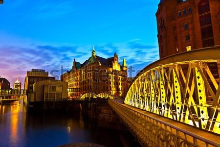 Speicherstadt in Hamburg by night Stock photo © meinzahn