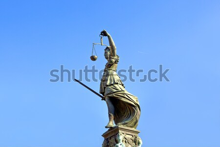 Statue of Lady Justice 'Justitia' in front of the Romer in Frank Stock photo © meinzahn