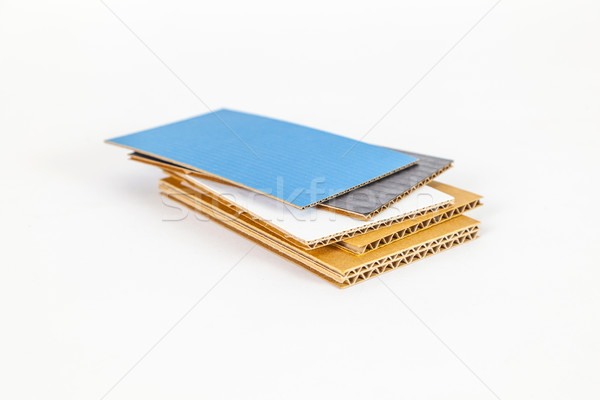 cardboard samples in different thickness and color Stock photo © meinzahn