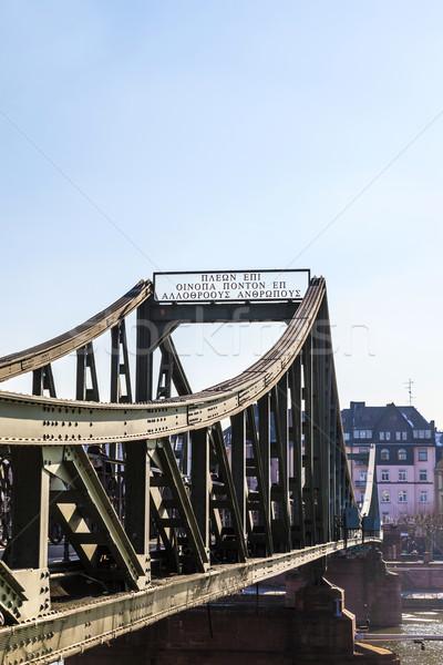 Brug Frankfurt Duitsland stad metaal brief Stockfoto © meinzahn