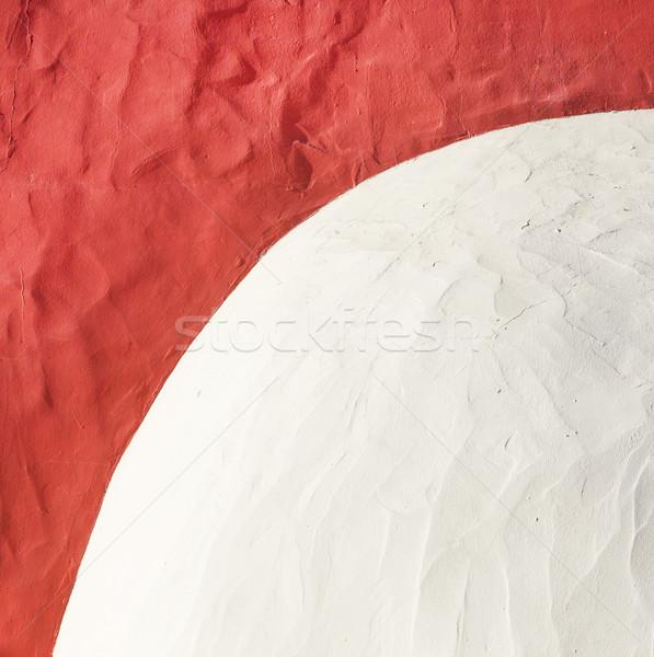 Czerwony biały wzór zewnątrz komin Zdjęcia stock © meinzahn
