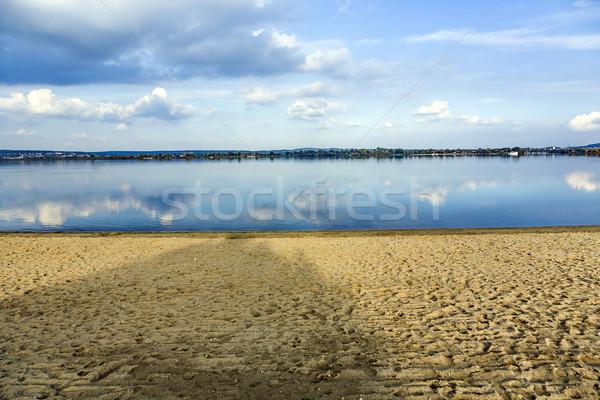 Stock fotó: Gyönyörű · tengerpart · tó · naplemente · természet · tájkép