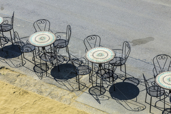 Velho café cadeiras Viena rua céu Foto stock © meinzahn