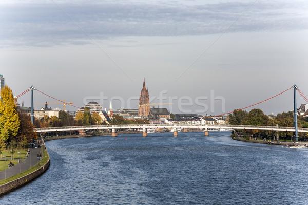 Skyline Frankfurt wolkenkrabber vrede Stockfoto © meinzahn