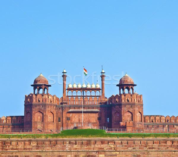 Rosso fort Delhi India muro blu Foto d'archivio © meinzahn