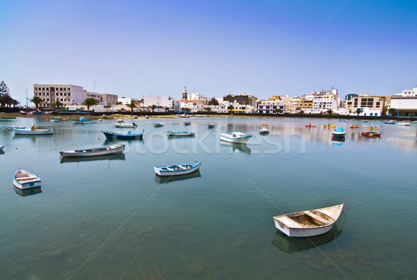 Charco de San Gines, the laguna at the city of Arrecife with boa Stock photo © meinzahn