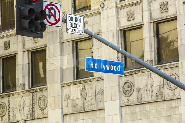 Segnale stradale hollywood strada strada iscritto traffico Foto d'archivio © meinzahn