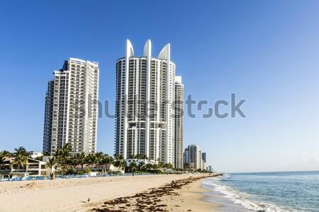 Praia Miami arranha-céus aves de manhã cedo cidade Foto stock © meinzahn