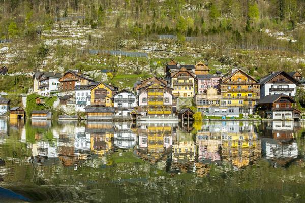 Város hagyományos fából készült házak Ausztria Európa Stock fotó © meinzahn
