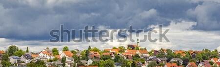 dark clouds over village of Schweitenkirchen Stock photo © meinzahn