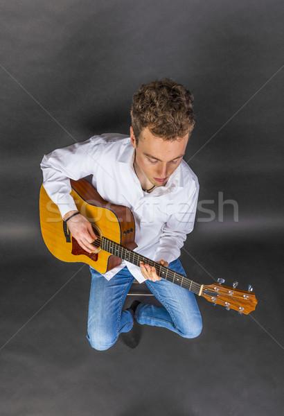 Gitarist stoel westerse gitaar muziek Stockfoto © meinzahn